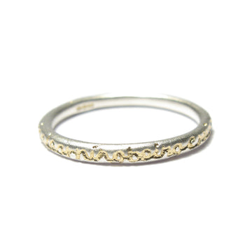 Diana Porter Jewellery contemporary etched being silver gold stacking ring