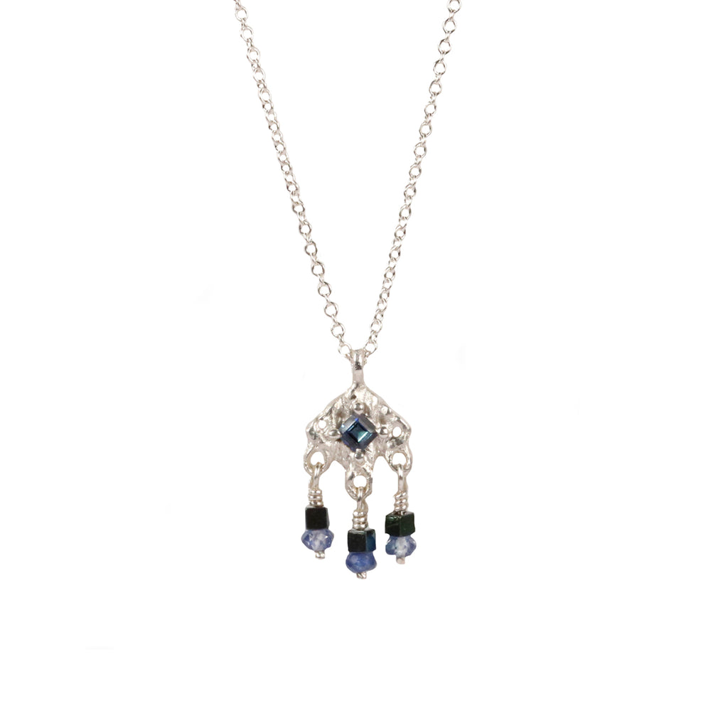 Rosalyn Faith Silver Knitted and Blue Sapphire Pendant