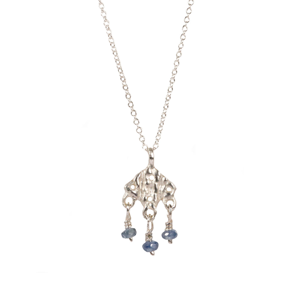 Rosalyn Faith Silver Knitted and Blue Sapphire Beaded Pendant