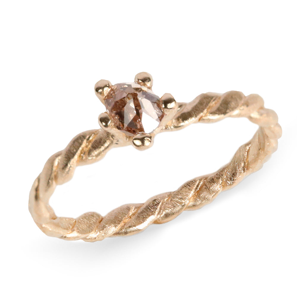 Rosalyn Faith Gold Brown Diamond Twist Ring