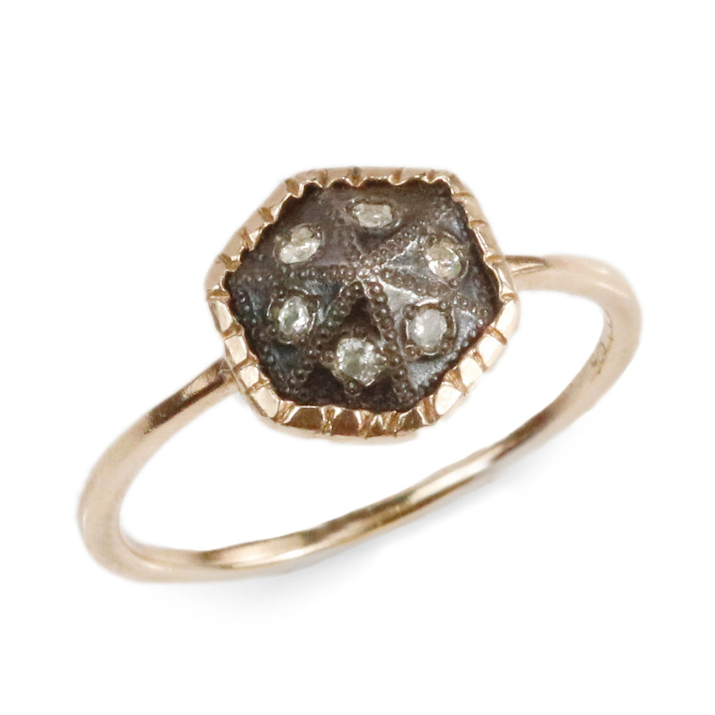 Rusty Thought Hexagon Gold Ring