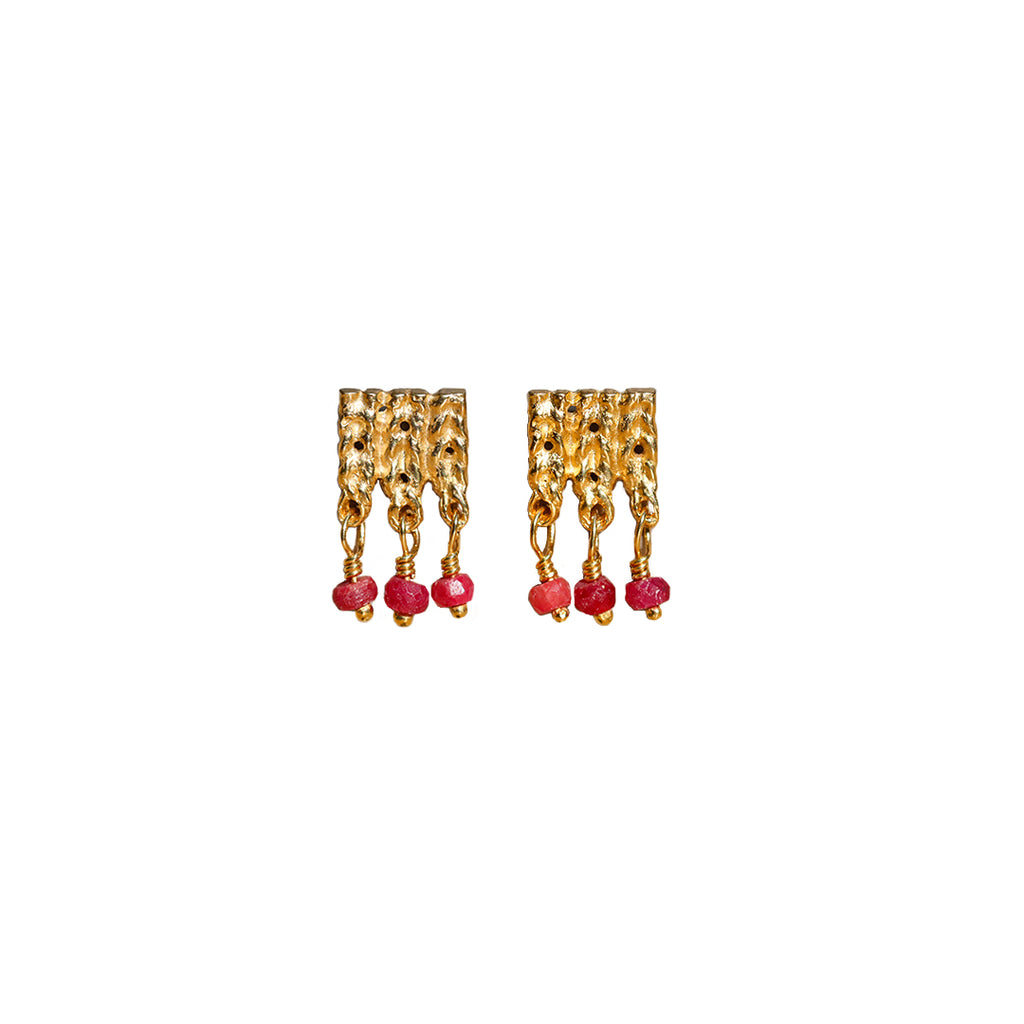 Rosalyn Faith Knitted Ruby Earrings