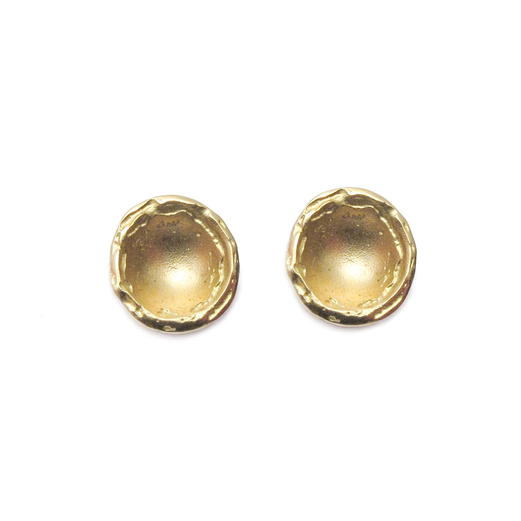 Diana Porter Jewellery contemporary etched yellow gold stud earrings
