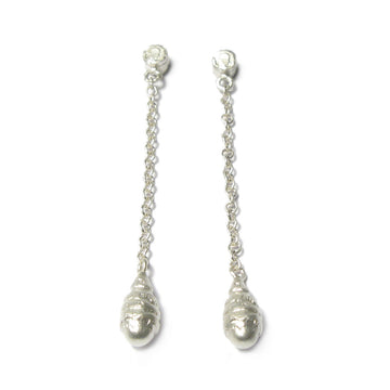 Diana Porter Jewellery contemporary etched silver drop earrings