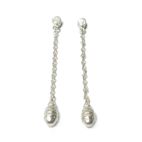 Silver 'Strata' Drop Earrings