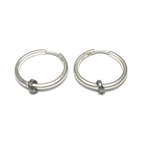 Silver 'Strata' Hoop Earrings
