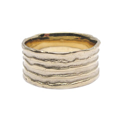 Diana Porter Jewellery contemporary etched yellow gold ring