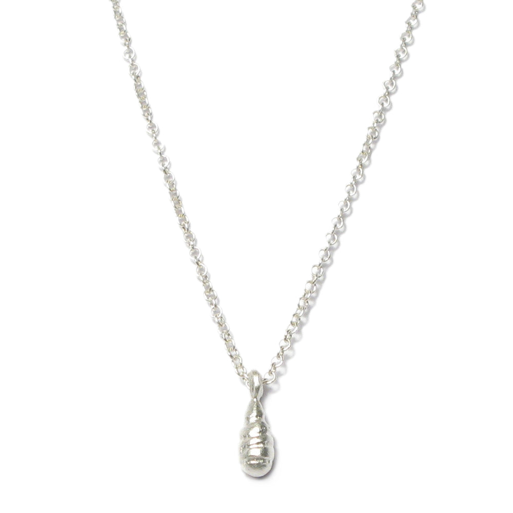 Silver 'Strata' Large Drop Pendant Necklace
