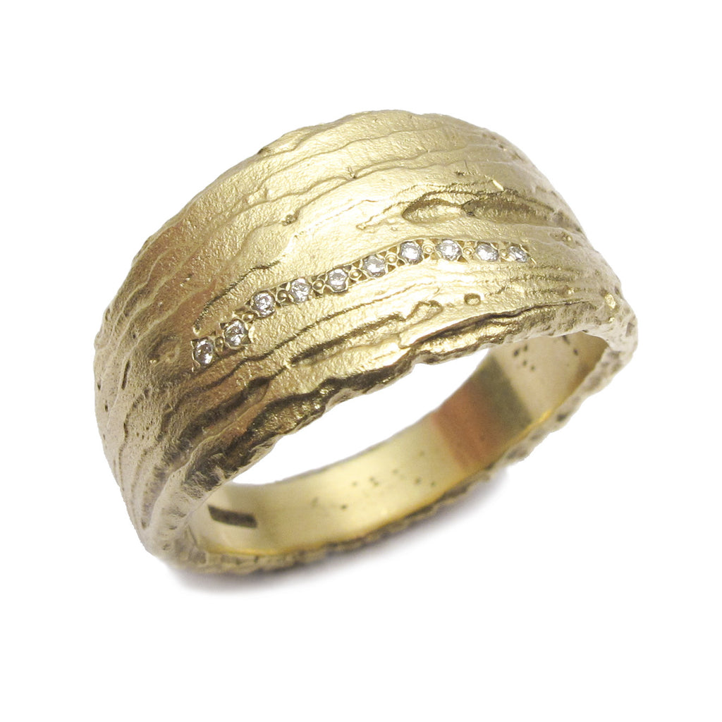 Diana Porter Jewellery contemporary etched yellow gold diamond eternity ring