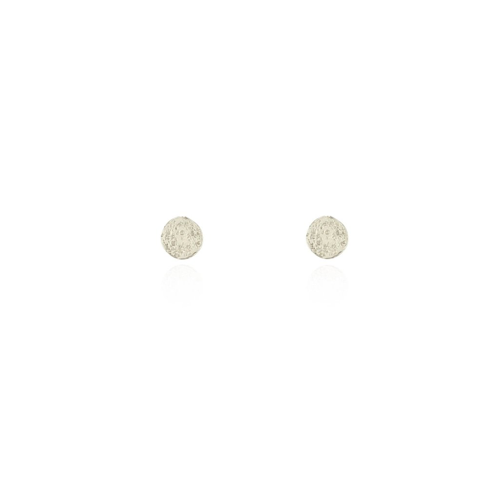 Momocreatura Mini Moon Disc Stud Earrings Silver