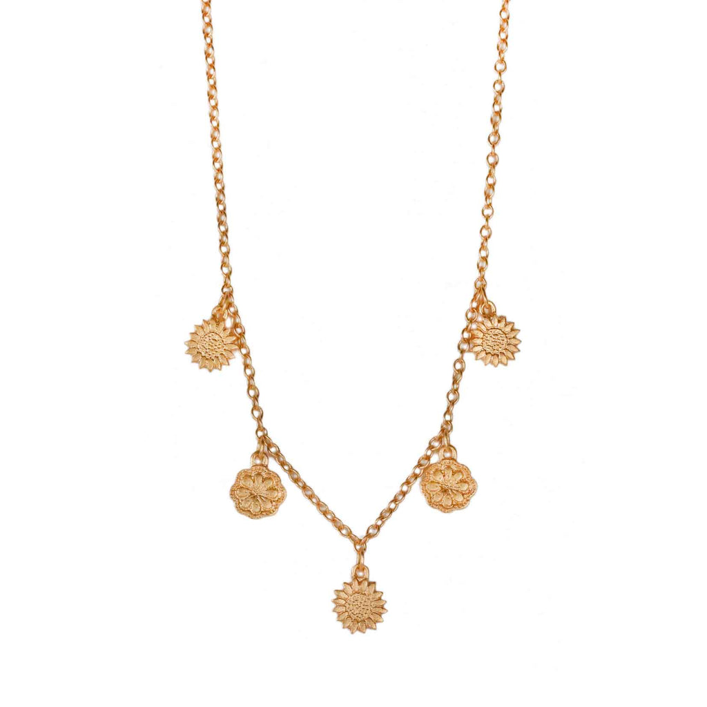 Sophie Milner Gold-plated Silver Five Flower Charm Necklace