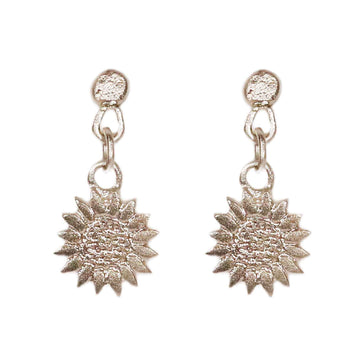 Sophie Milner Silver Sunflower Charm Earrings