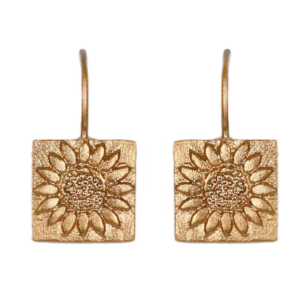 Sophie Milner Gold-plated Silver Sunflower Charm Earrings