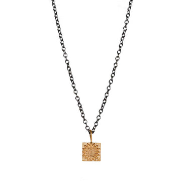 Sophie Milner Gold-plated Sunflower Pendant on Oxidised Silver Chain