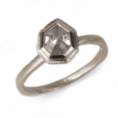 Platinum 'One-Of-Kind' Ring Set with Salt and Pepper Shield Rose Cut Diamond