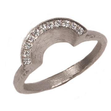 Fair Mind 18ct White Gold Half Halo Matching 'One-Of-Kind' Ring with 11 Canada Mark Diamonds