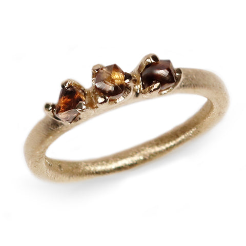 Trilogy Rough Cut Brown Diamonds in 9ct Yellow Gold 'One-Of-Kind' Ring