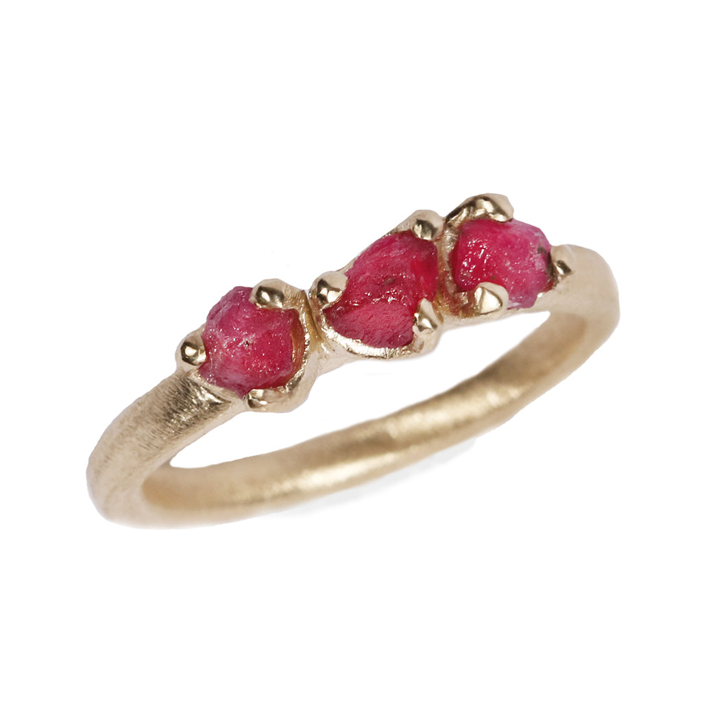 Trilogy Rough Cut Rubies in 9ct Yellow Gold Ring