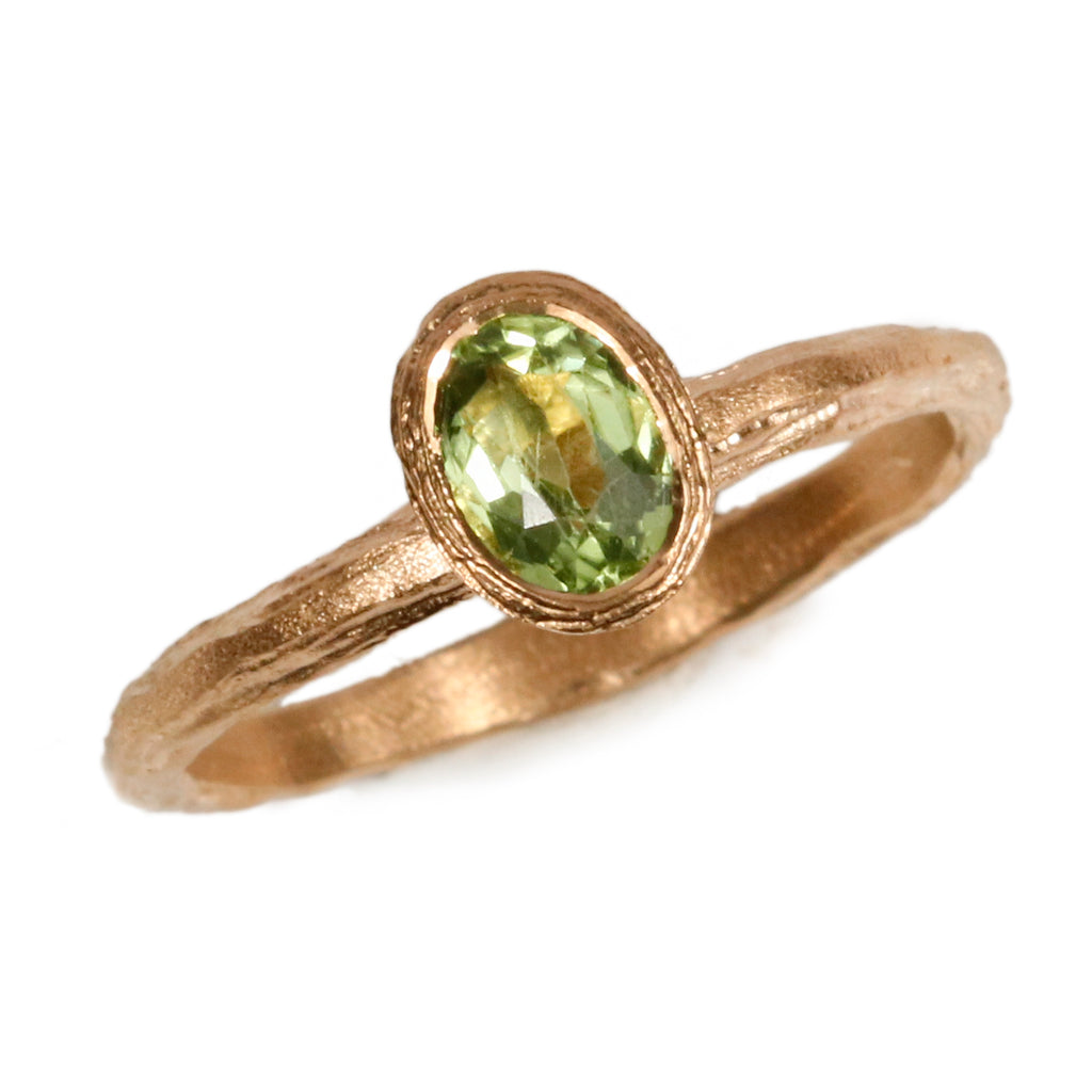Bespoke 9ct Yellow Gold Ring with Vivid Peridot
