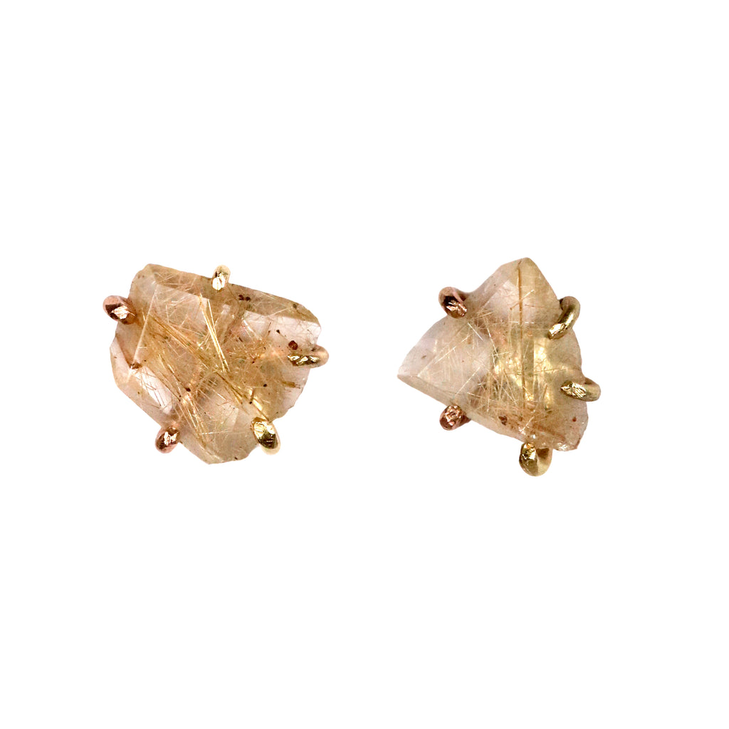 Variance Objects Rutilated Quartz  Ear studs