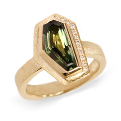 Fair Mind 18ct Yellow Gold 'One-Of-Kind' Ring with 2.3ct Australian Sapphire and 12 Canada Mark Diamonds