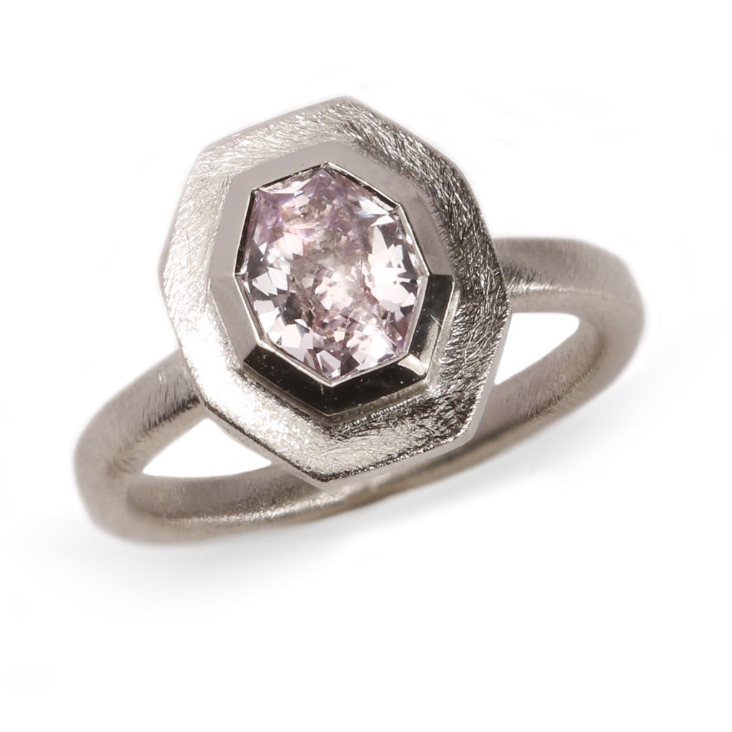 Fair Mind 18ct White Gold 'One of a kind' Ring with 1.44ct Sri Lankan Pink Sapphire