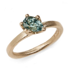 SOLD Fair Mind 9ct Yellow Gold Ring with 0.98ct Malawi Pear Blue Tourmaline