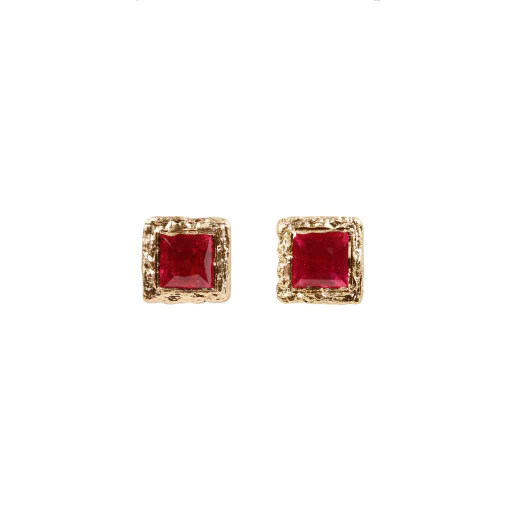 Fair Mind 18ct Yellow Gold 'One-Of-Kind' Ear Studs with Tanzanian Rubies