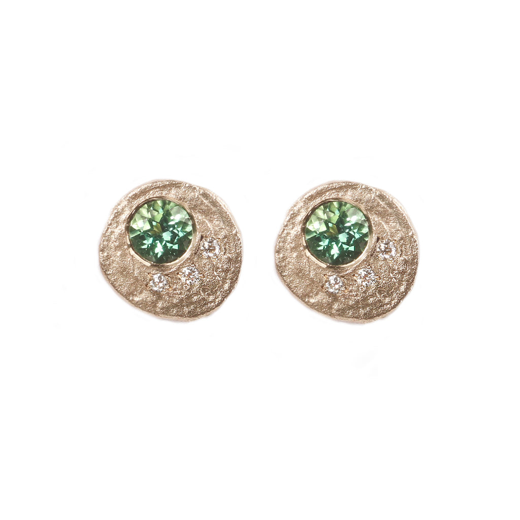 Fair Mind 9ct Yellow Gold 'One-Of-Kind' Ear Studs with Tourmalines and Diamonds