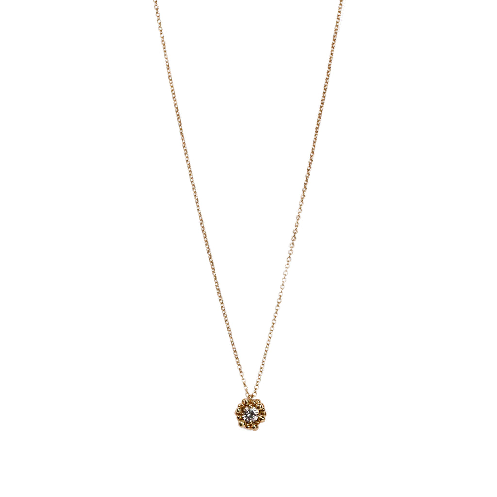 Yen 18ct yellow gold and white sapphire necklace