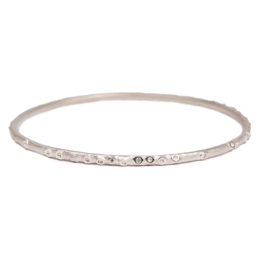 Zoya Dickinson Silver Caldera Bangle with Diamonds