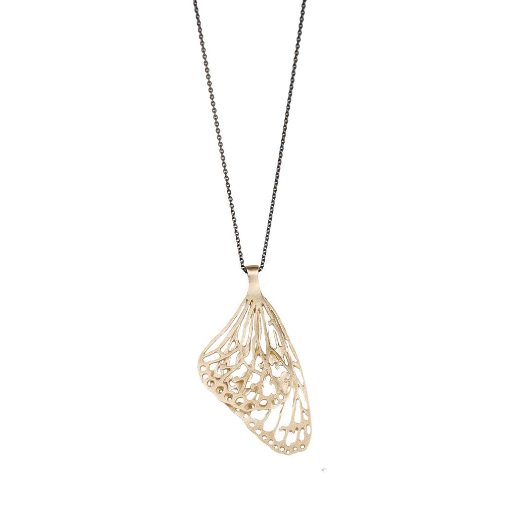 Zoya Dickinson 9ct Yellow Gold Butterfly Pendant with Oxidised Chain