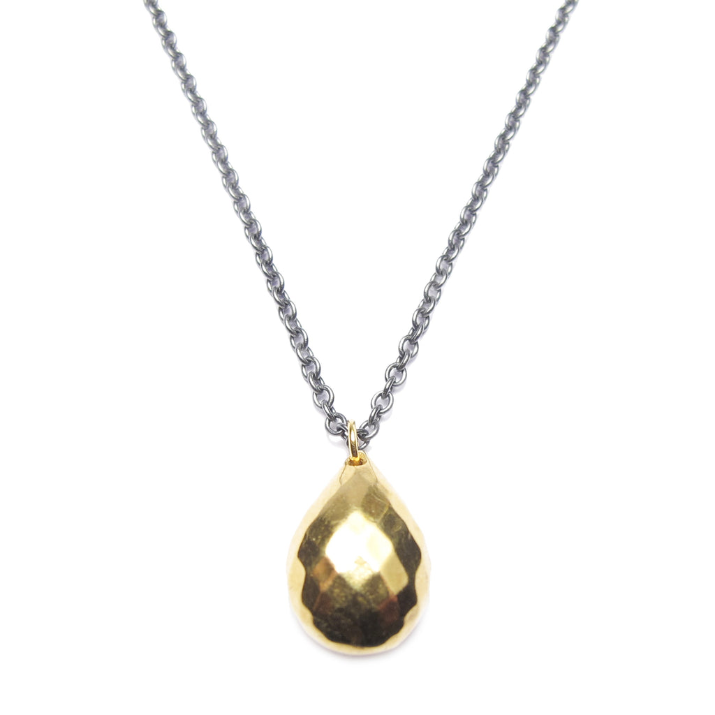Designers at Diana Porter Contemporary Jewellery, Zoya Dickinson Gold Plated Broilette Pendant oxidised silver chain