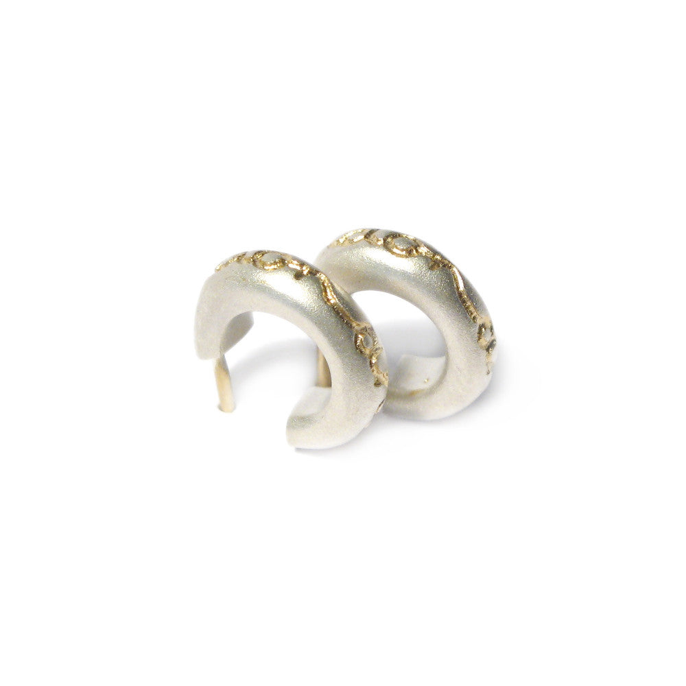Diana Porter etched on and on silver gold hoop earrings