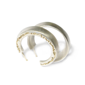 Diana Porter etched and on edge silver hoop earrings