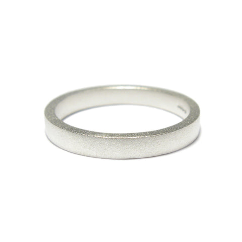 Plain Narrow Square Silver Ring