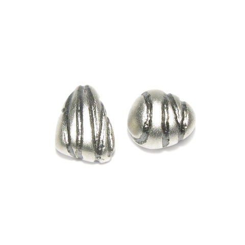 Silver 'AND ON' Pebble Ear Studs