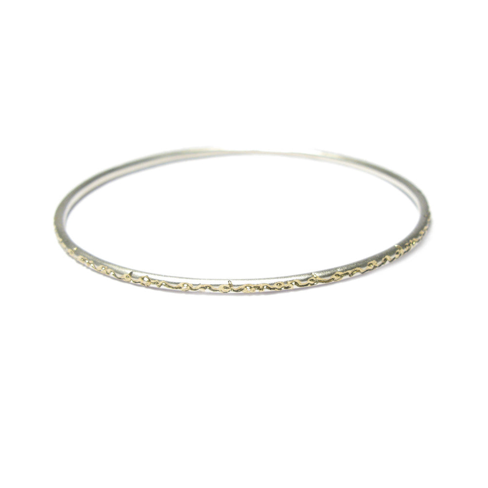 Diana Porter contemporary etched on and on silver gold bangle