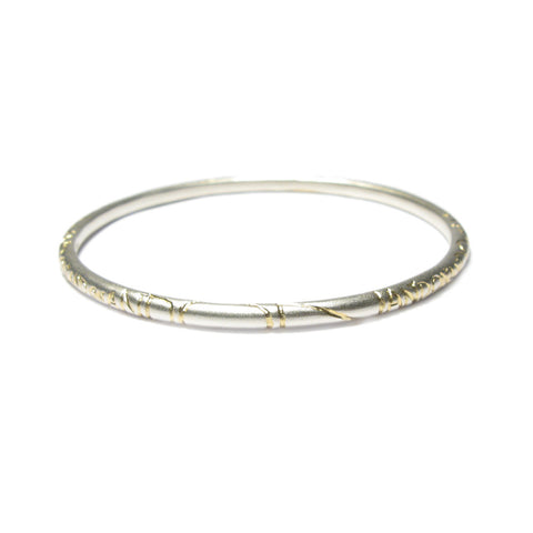 Rounded Silver 'ON AND ON' Bangle