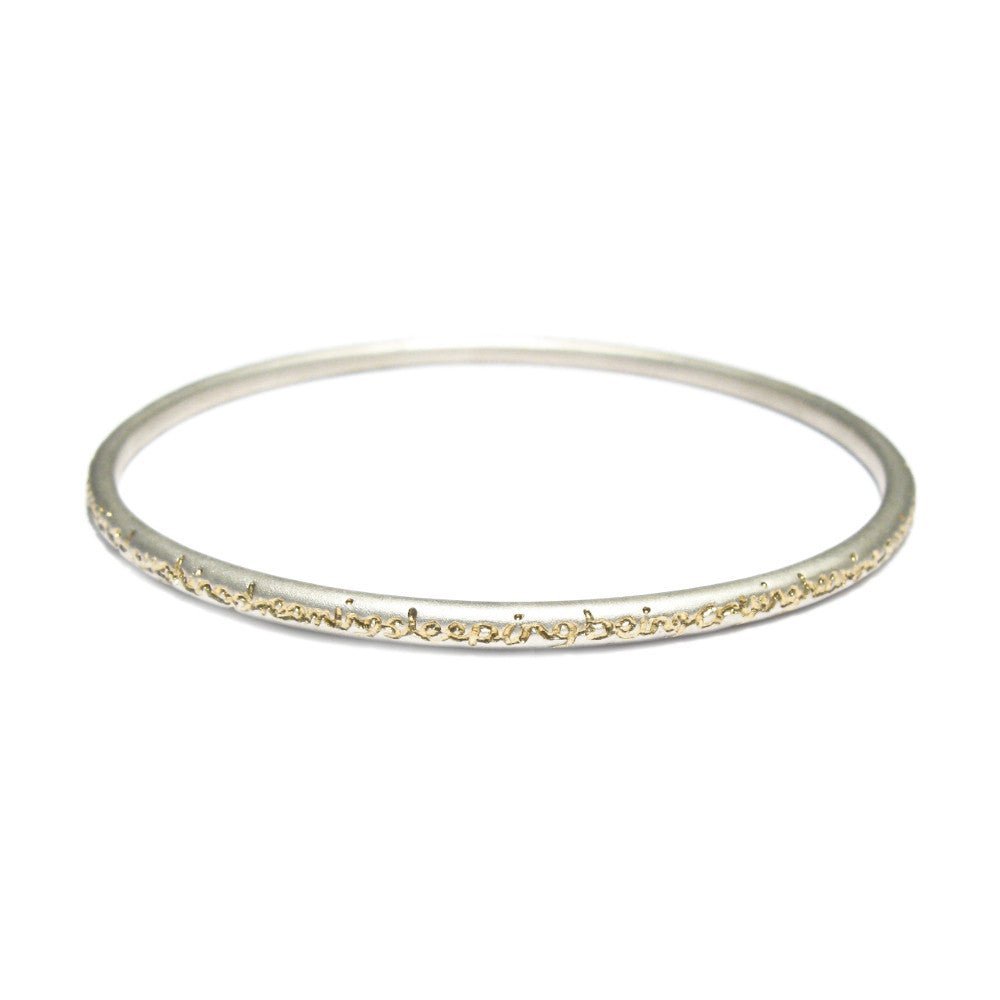 Diana Porter unique etched being silver gold bangle