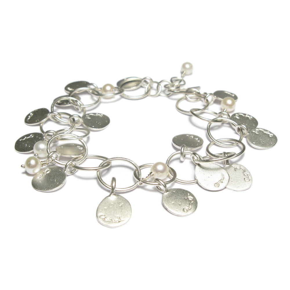 Diana Porter contemporary etched silver and pearl bracelet