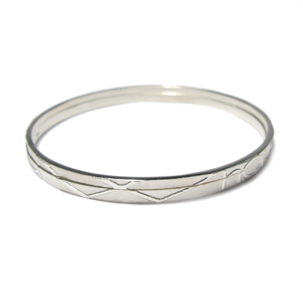 Diana Porter etched silver partnership bangles