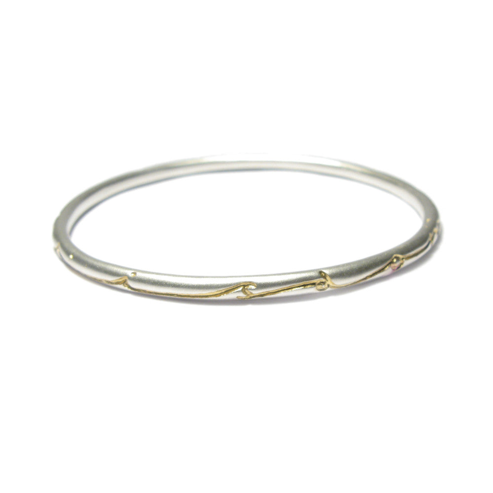 Diana Porter Jewellery etched silver gold wisdom bangle