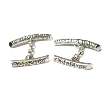 Diana Porter Jewellery etched on and on silver cufflinks