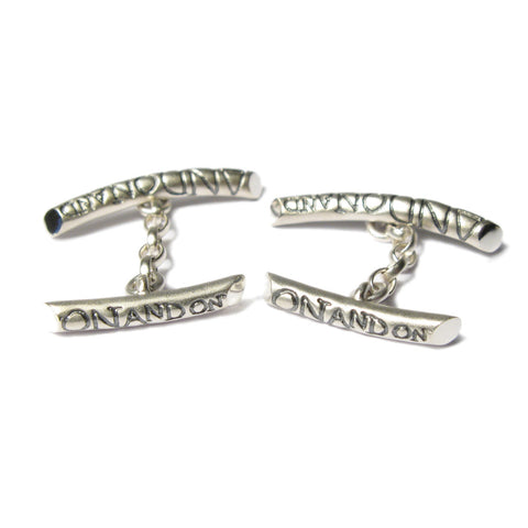 Silver 'ON AND ON' Bar Cufflinks