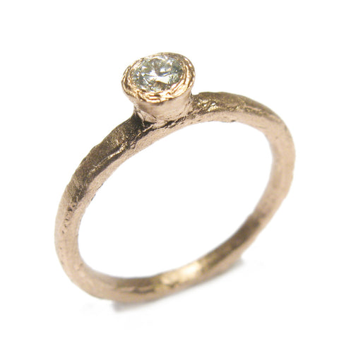 9ct Rose Gold and 0.16ct Brilliant Cut Diamond Ring