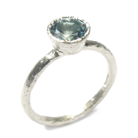 9ct White Gold Ring With Brilliant Cut Aquamarine