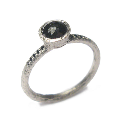 Platinum Ring With Black Rose Cut Diamond and Grain Set Diamonds