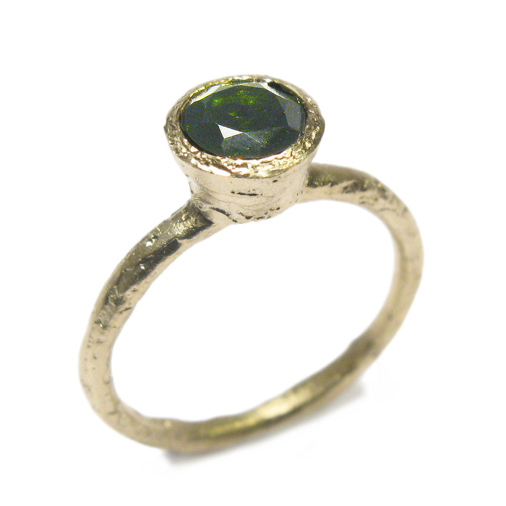 Diana Porter Jewellery modern green tourmaline yellow gold engagement ring
