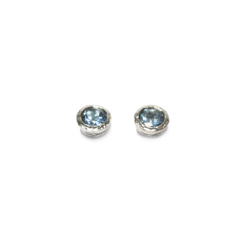 Silver and Aquamarine Etched Ear Studs